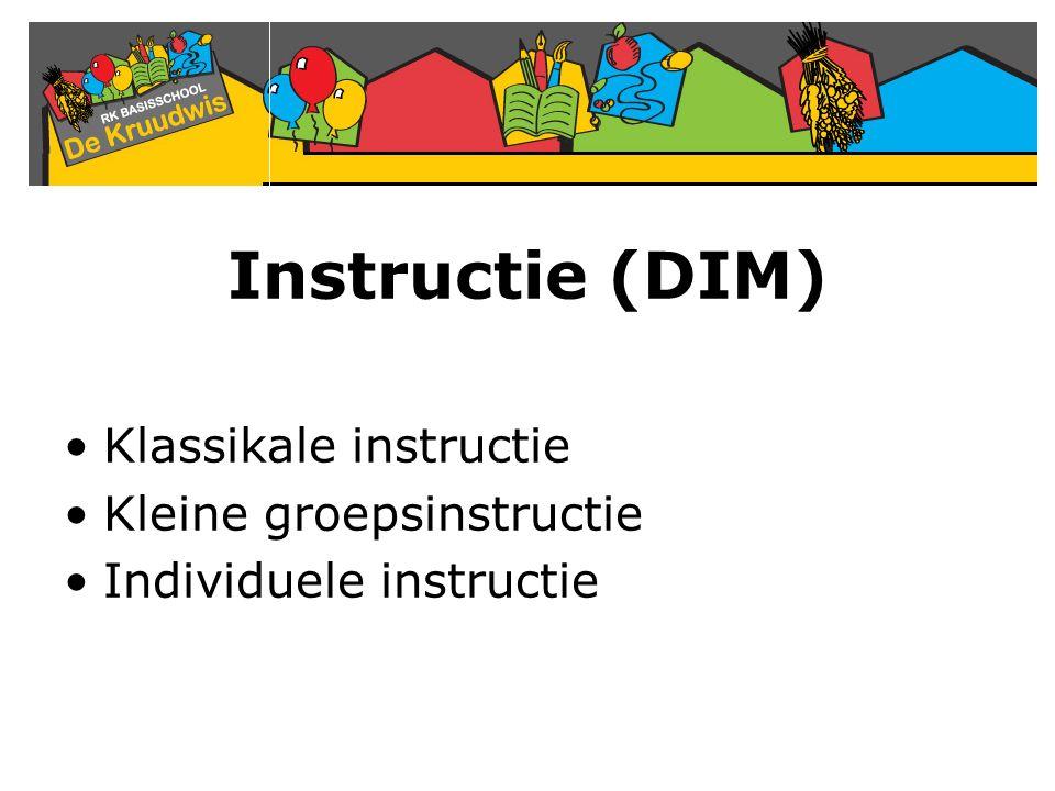 Instructie (DIM) Klassikale instructie Kleine groepsinstructie Individuele instructie