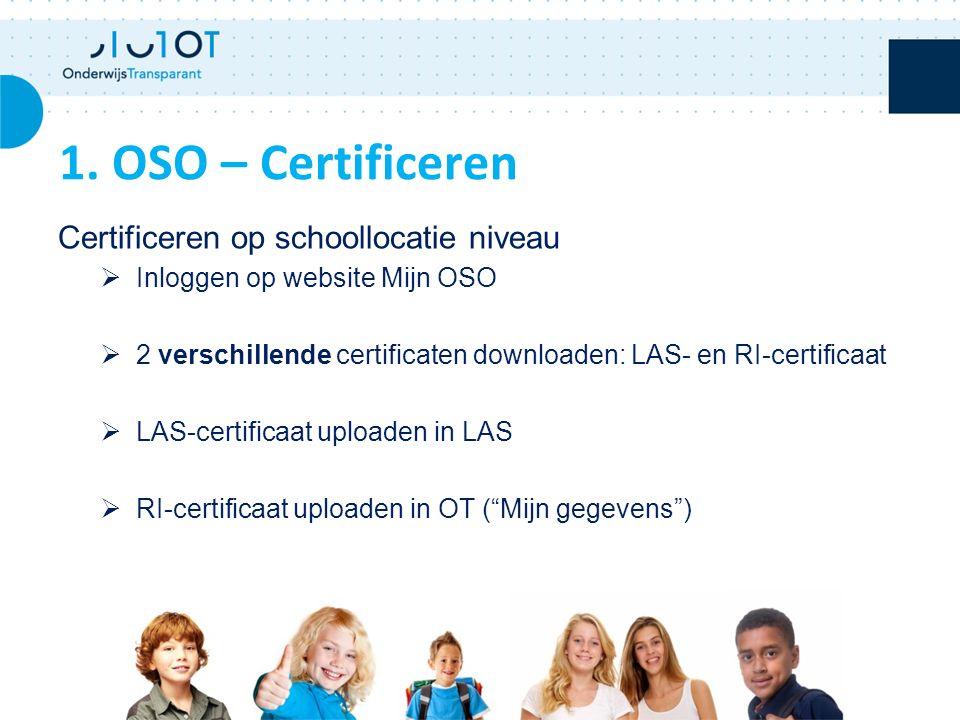 Certificeren op schoollocatie niveau  Inloggen op website Mijn OSO  2 verschillende certificaten downloaden: LAS- en RI-certificaat  LAS-certificaat uploaden in LAS  RI-certificaat uploaden in OT ( Mijn gegevens ) 1.
