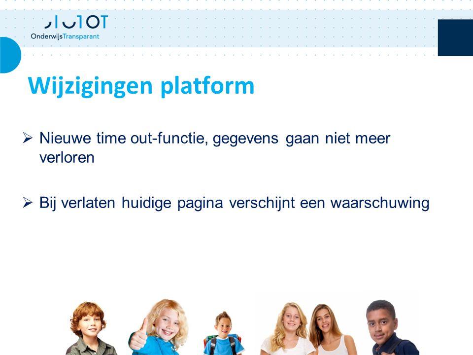 Wijzigingen platform  Nieuwe time out-functie, gegevens gaan niet meer verloren  Bij verlaten huidige pagina verschijnt een waarschuwing 17/02/2009