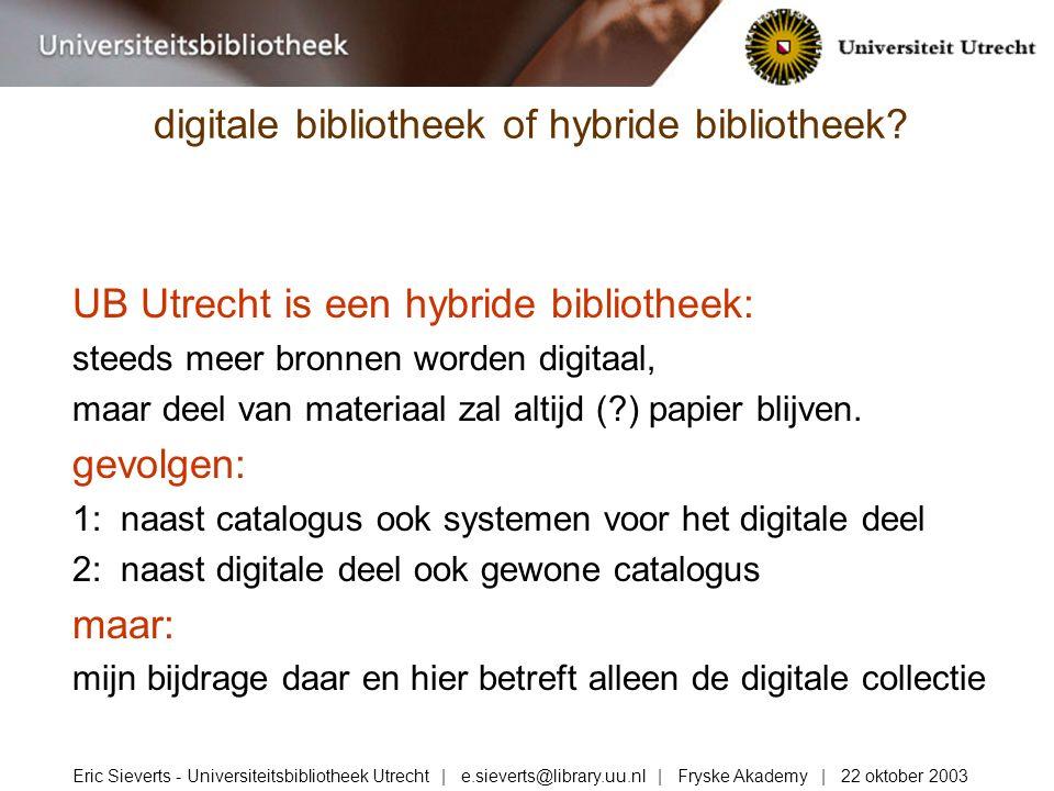 UB Utrecht is een hybride bibliotheek: steeds meer bronnen worden digitaal, maar deel van materiaal zal altijd (?) papier blijven.