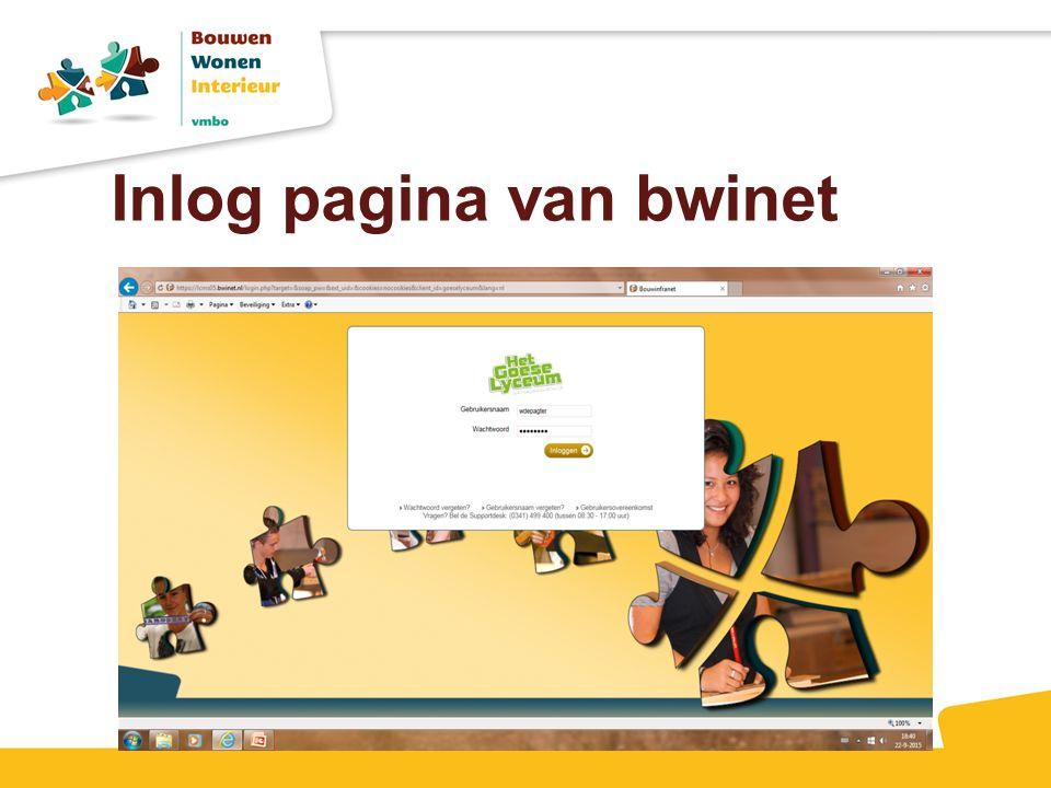 Inlog pagina van bwinet