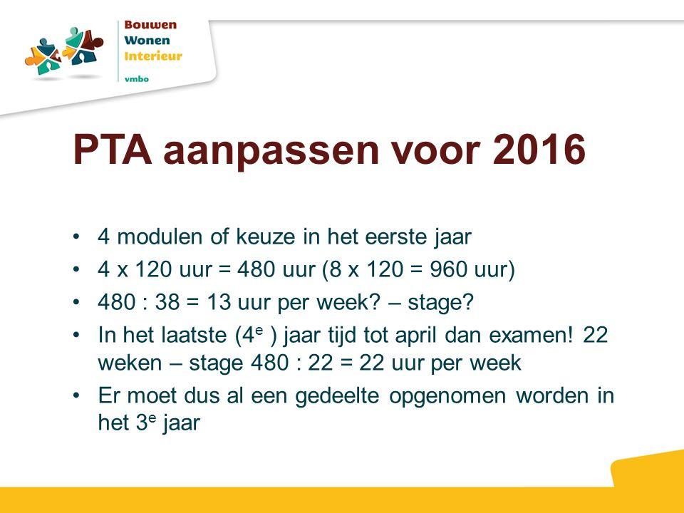 PTA aanpassen voor 2016 4 modulen of keuze in het eerste jaar 4 x 120 uur = 480 uur (8 x 120 = 960 uur) 480 : 38 = 13 uur per week.