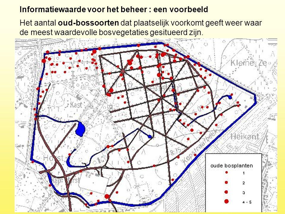 Informatiewaarde voor het beheer : een voorbeeld Het aantal oud-bossoorten dat plaatselijk voorkomt geeft weer waar de meest waardevolle bosvegetaties