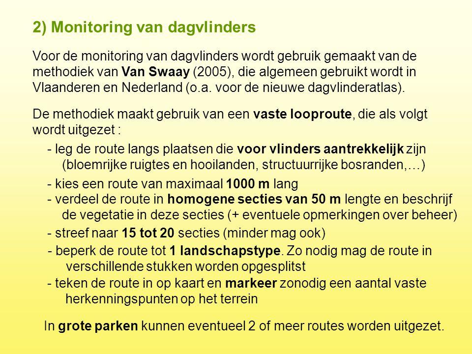 Voor de monitoring van dagvlinders wordt gebruik gemaakt van de methodiek van Van Swaay (2005), die algemeen gebruikt wordt in Vlaanderen en Nederland