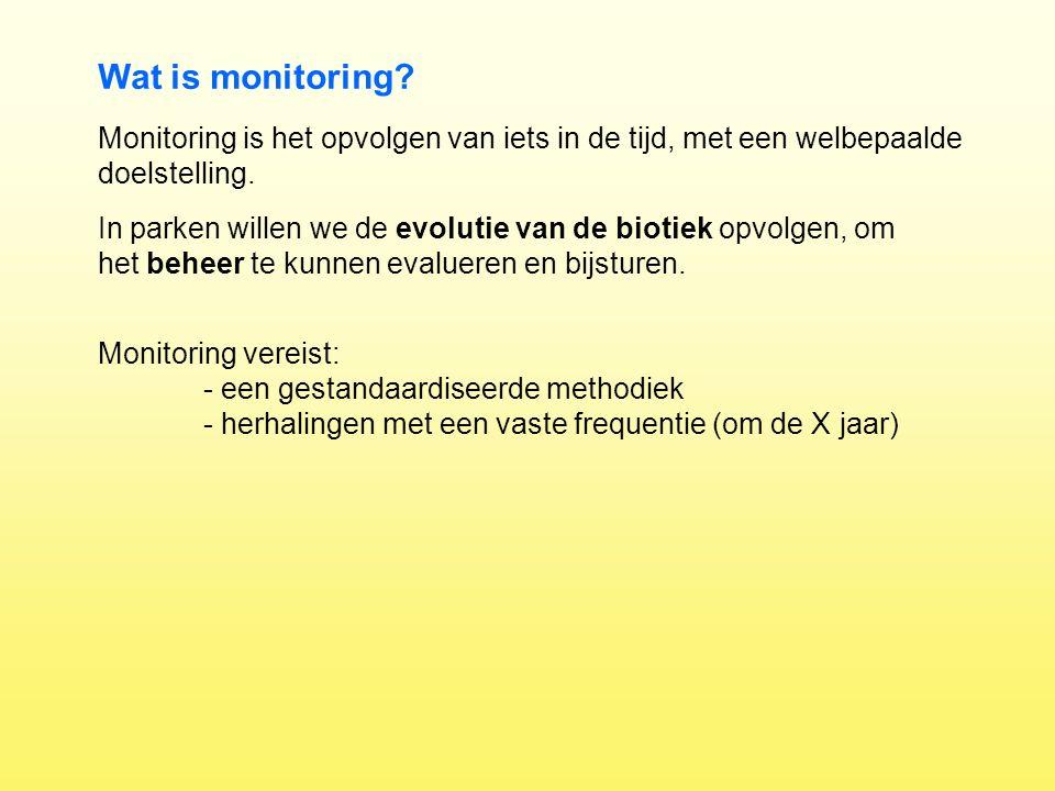 Monitoring is het opvolgen van iets in de tijd, met een welbepaalde doelstelling. Wat is monitoring? Monitoring vereist: - een gestandaardiseerde meth