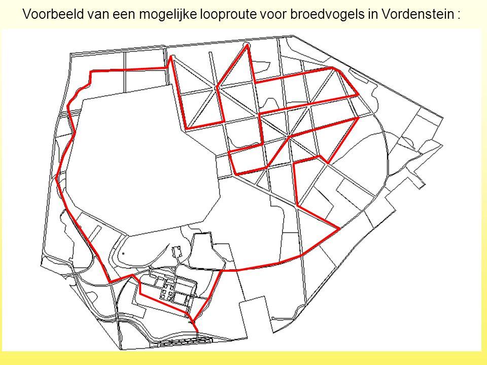 Voorbeeld van een mogelijke looproute voor broedvogels in Vordenstein :