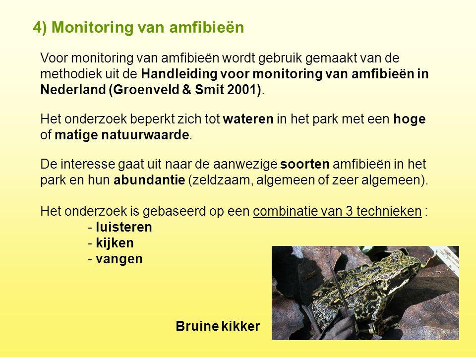 4) Monitoring van amfibieën Voor monitoring van amfibieën wordt gebruik gemaakt van de methodiek uit de Handleiding voor monitoring van amfibieën in N