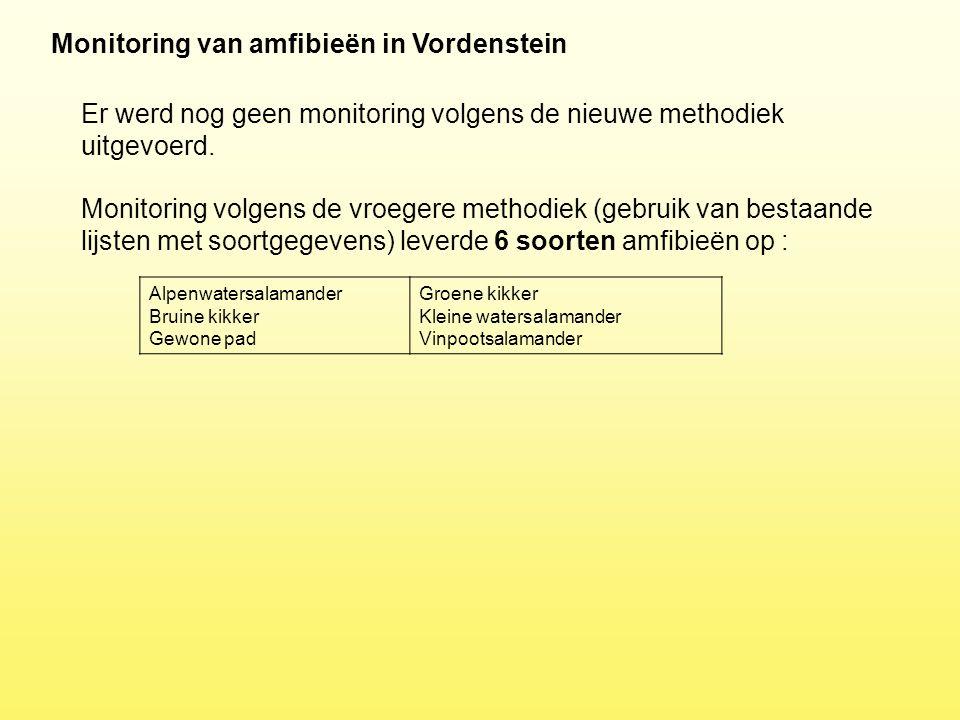 Monitoring van amfibieën in Vordenstein Er werd nog geen monitoring volgens de nieuwe methodiek uitgevoerd. Monitoring volgens de vroegere methodiek (