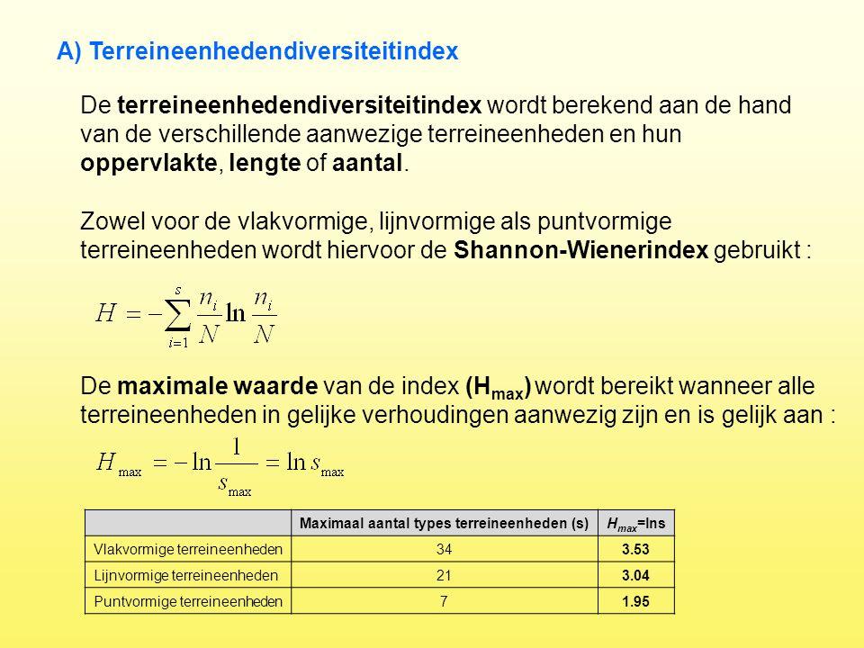 De terreineenhedendiversiteitindex wordt berekend aan de hand van de verschillende aanwezige terreineenheden en hun oppervlakte, lengte of aantal. A)