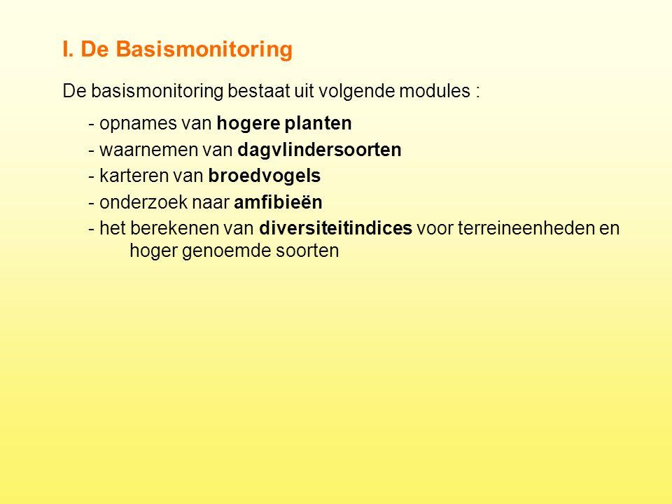 De basismonitoring bestaat uit volgende modules : I. De Basismonitoring - opnames van hogere planten - waarnemen van dagvlindersoorten - karteren van