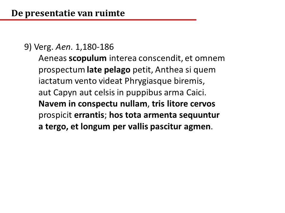 De presentatie van ruimte 9) Verg. Aen. 1,180-186 Aeneas scopulum interea conscendit, et omnem prospectum late pelago petit, Anthea si quem iactatum v