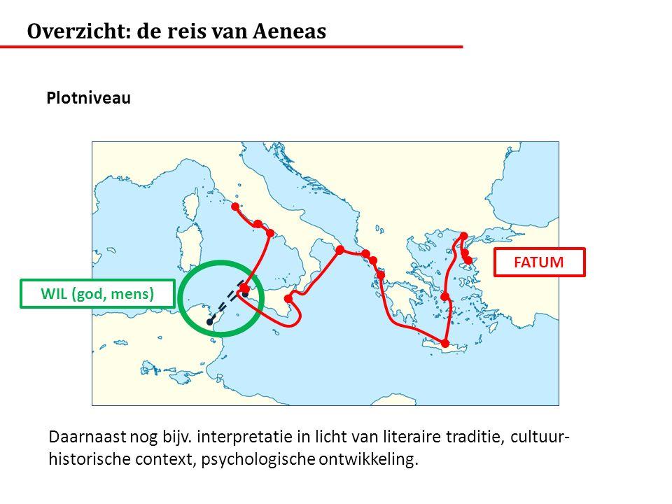 FATUM WIL (god, mens) Overzicht: de reis van Aeneas Plotniveau Daarnaast nog bijv. interpretatie in licht van literaire traditie, cultuur- historische