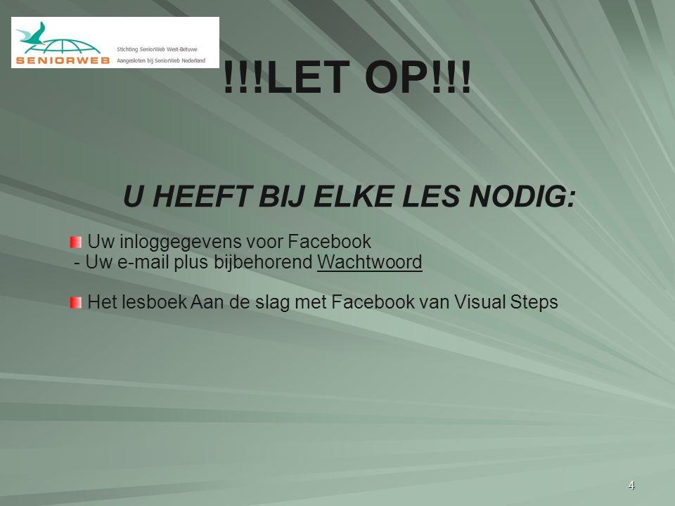 4 U HEEFT BIJ ELKE LES NODIG: Uw inloggegevens voor Facebook - Uw e-mail plus bijbehorend Wachtwoord Het lesboek Aan de slag met Facebook van Visual S