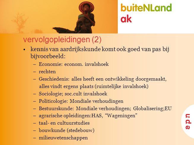 vervolgopleidingen (2) kennis van aardrijkskunde komt ook goed van pas bij bijvoorbeeld: –Economie: econom.