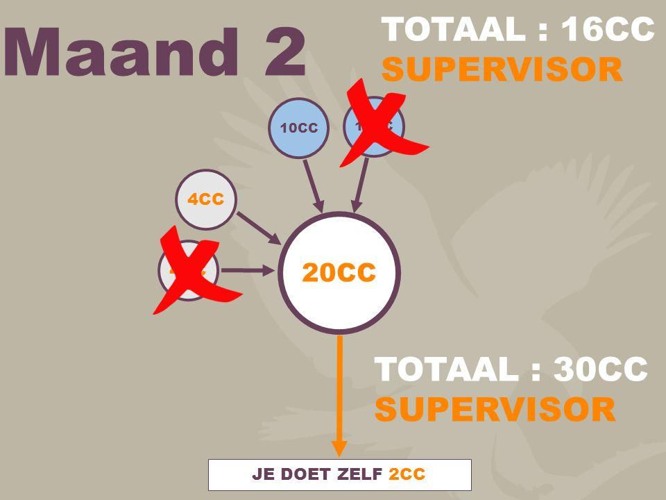 Maand 2 20CC 10CC 4CC JE DOET ZELF 2CC TOTAAL : 30CC SUPERVISOR TOTAAL : 16CC SUPERVISOR