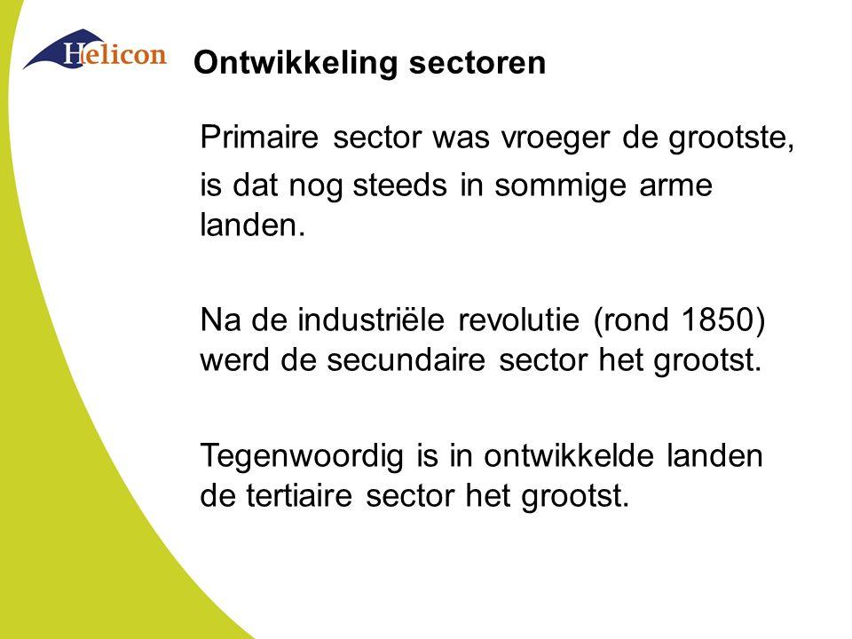 Ontwikkeling sectoren Primaire sector was vroeger de grootste, is dat nog steeds in sommige arme landen. Na de industriële revolutie (rond 1850) werd