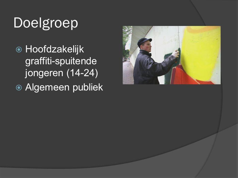 Doelgroep  Hoofdzakelijk graffiti-spuitende jongeren (14-24)  Algemeen publiek