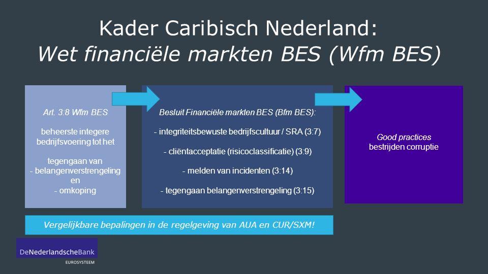 Kader Caribisch Nederland: Wet financiële markten BES (Wfm BES) Art.
