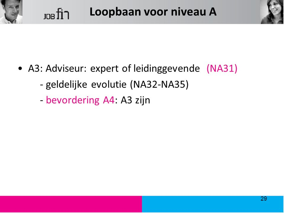 Loopbaan voor niveau A A3: Adviseur: expert of leidinggevende (NA31) - geldelijke evolutie (NA32-NA35) - bevordering A4: A3 zijn 29