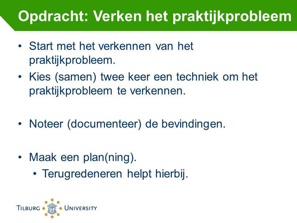 Start met het verkennen van het praktijkprobleem. Kies (samen) twee keer een techniek om het praktijkprobleem te verkennen. Noteer (documenteer) de be