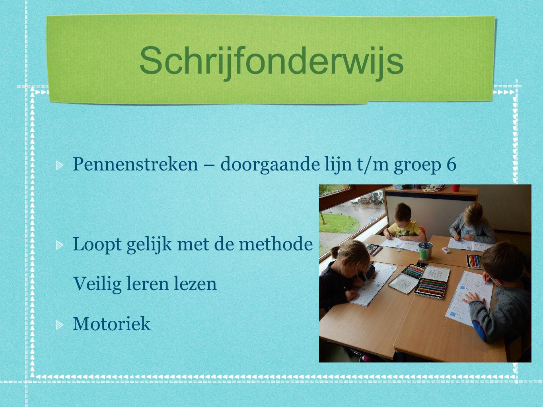 Schrijfonderwijs Pennenstreken – doorgaande lijn t/m groep 6 Loopt gelijk met de methode Veilig leren lezen Motoriek