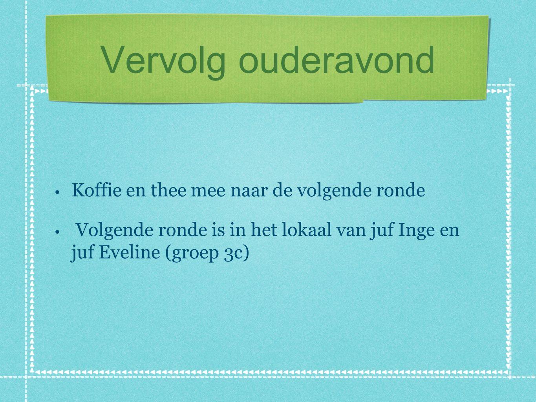 Vervolg ouderavond Koffie en thee mee naar de volgende ronde Volgende ronde is in het lokaal van juf Inge en juf Eveline (groep 3c)