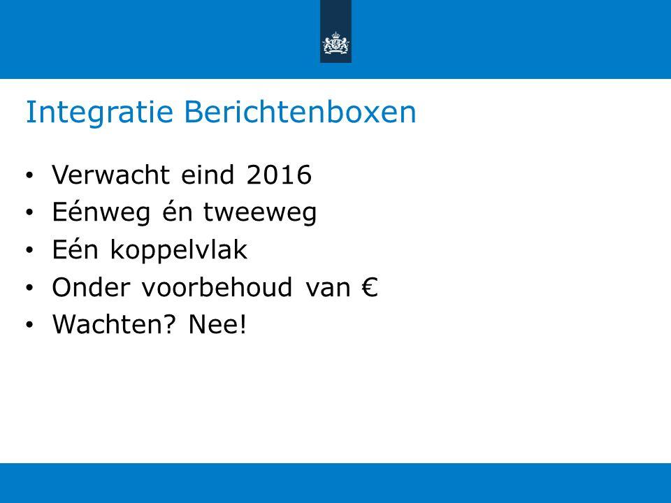Integratie Berichtenboxen Verwacht eind 2016 Eénweg én tweeweg Eén koppelvlak Onder voorbehoud van € Wachten? Nee!