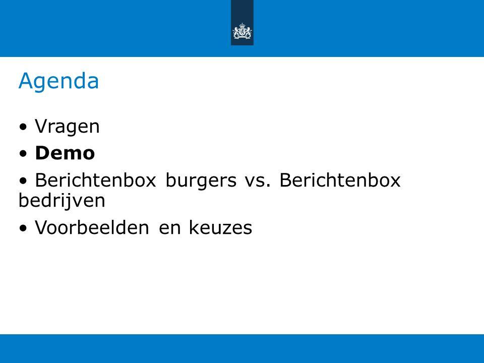 Agenda Vragen Demo Berichtenbox burgers vs. Berichtenbox bedrijven Voorbeelden en keuzes