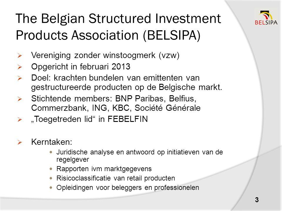 BELSIPA market report HY1 2015 4 Algemeen: Ongeveer € 36.5 miljard geinvesteerd in gestructureerde producten door prive-beleggers in België.