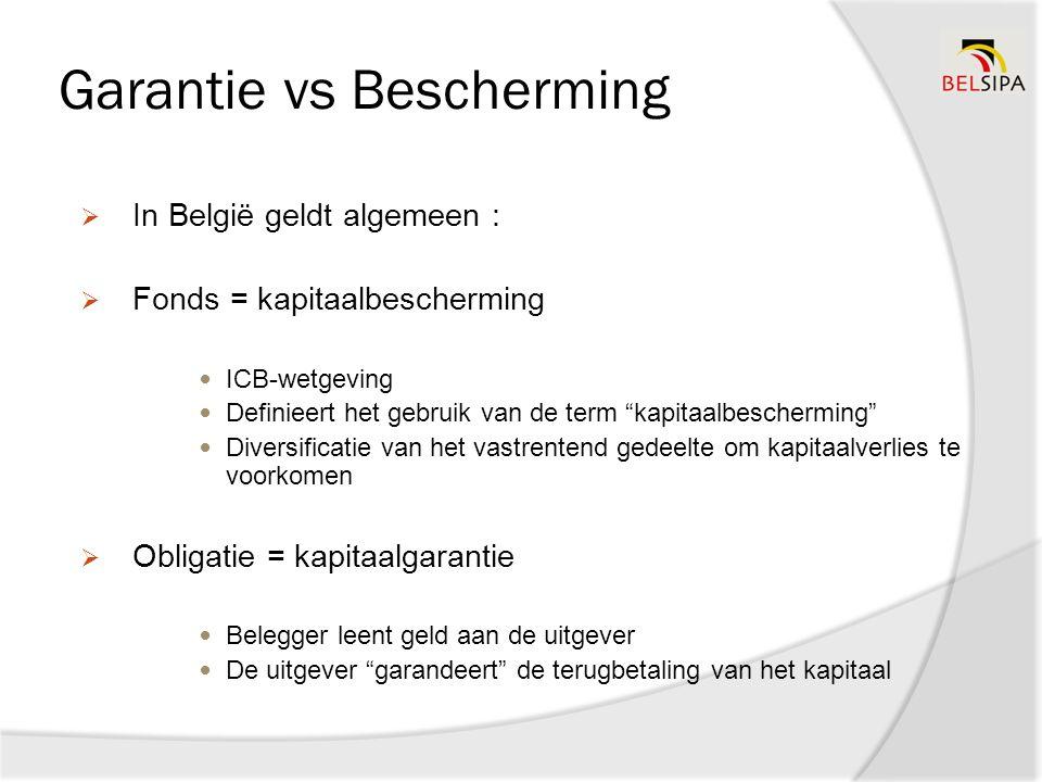 Garantie vs Bescherming  In België geldt algemeen :  Fonds = kapitaalbescherming ICB-wetgeving Definieert het gebruik van de term kapitaalbescherming Diversificatie van het vastrentend gedeelte om kapitaalverlies te voorkomen  Obligatie = kapitaalgarantie Belegger leent geld aan de uitgever De uitgever garandeert de terugbetaling van het kapitaal