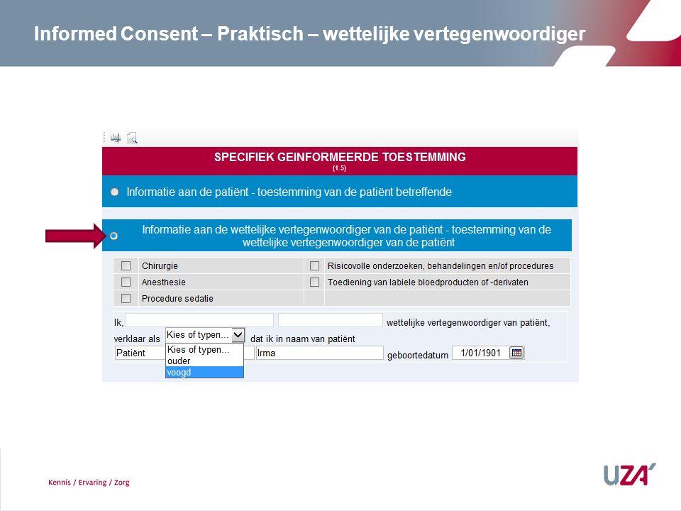 Informed Consent – Praktisch – wettelijke vertegenwoordiger