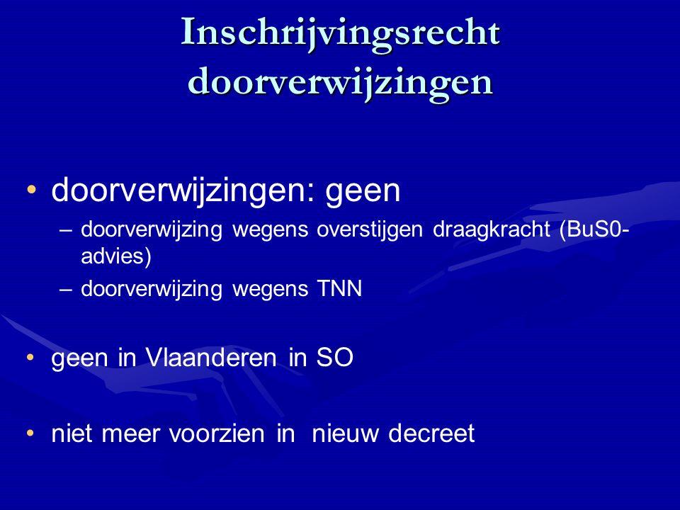 Inschrijvingsrecht doorverwijzingen doorverwijzingen: geen – –doorverwijzing wegens overstijgen draagkracht (BuS0- advies) – –doorverwijzing wegens TNN geen in Vlaanderen in SO niet meer voorzien in nieuw decreet