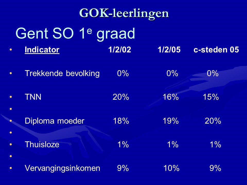 GOK-leerlingen Indicator 1/2/02 1/2/05 c-steden 05 Trekkende bevolking 0% 0%0% TNN 20% 16% 15% Diploma moeder 18% 19% 20% Thuisloze 1% 1% 1% Vervangingsinkomen 9% 10% 9% Gent SO 1 e graad