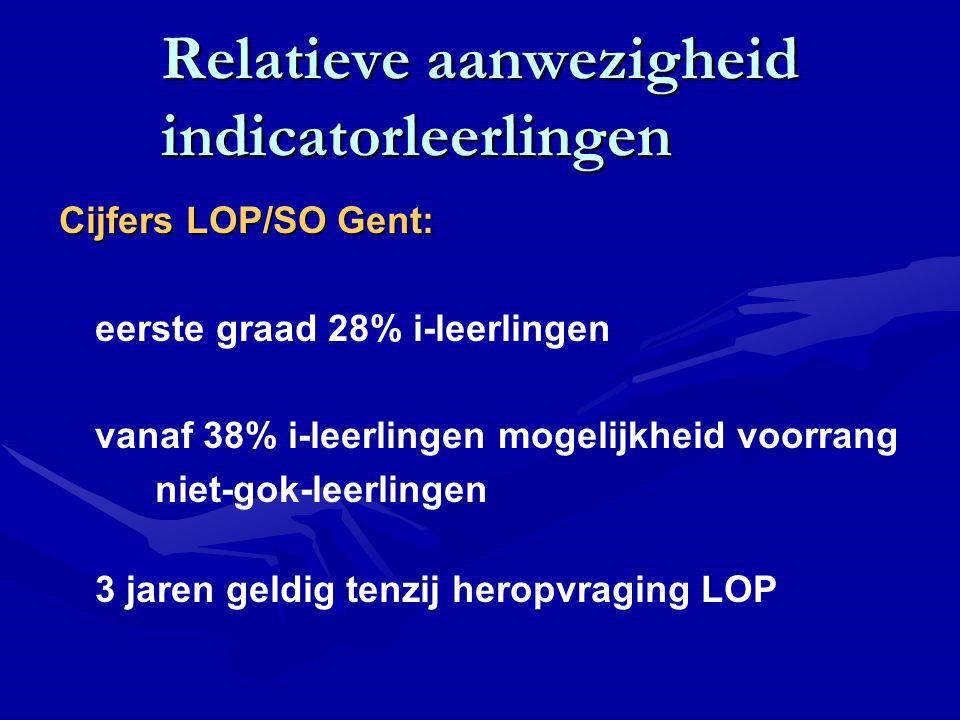 Relatieve aanwezigheid indicatorleerlingen Cijfers LOP/SO Gent: eerste graad 28% i-leerlingen vanaf 38% i-leerlingen mogelijkheid voorrang niet-gok-leerlingen 3 jaren geldig tenzij heropvraging LOP