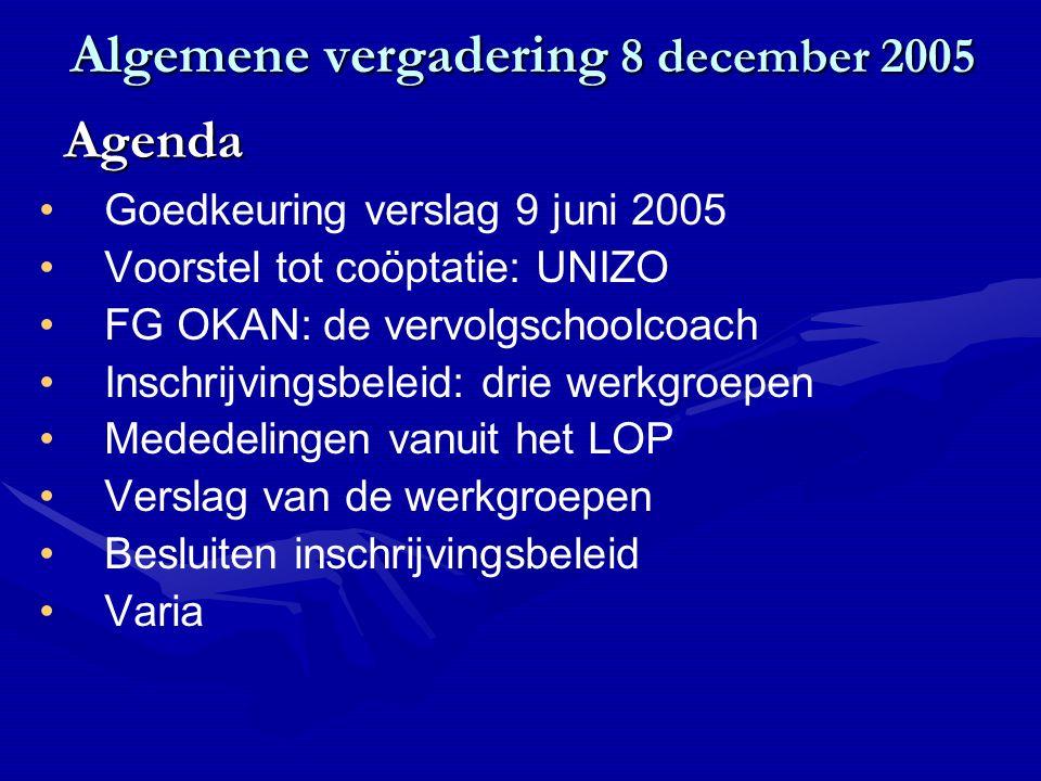 Algemene vergadering 8 december 2005 Goedkeuring verslag 9 juni 2005 Voorstel tot coöptatie: UNIZO FG OKAN: de vervolgschoolcoach Inschrijvingsbeleid: drie werkgroepen Mededelingen vanuit het LOP Verslag van de werkgroepen Besluiten inschrijvingsbeleid Varia Agenda