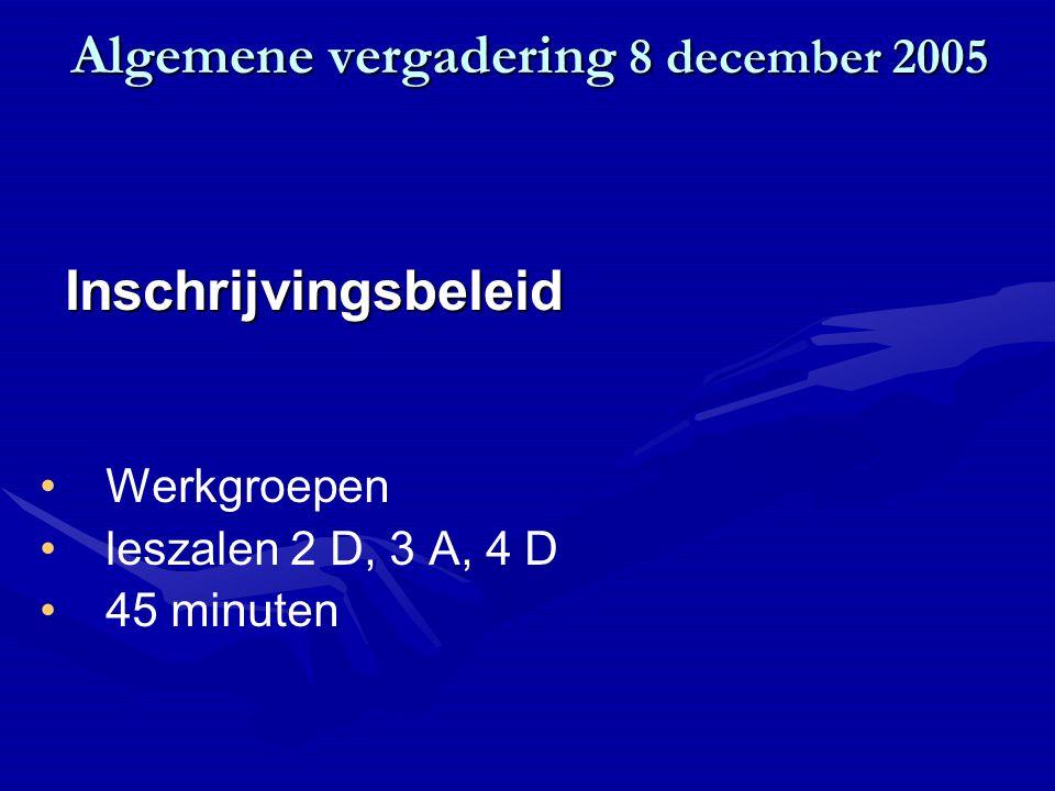 Algemene vergadering 8 december 2005 Werkgroepen leszalen 2 D, 3 A, 4 D 45 minuten Inschrijvingsbeleid