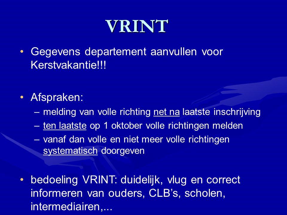 VRINT VRINT Gegevens departement aanvullen voor Kerstvakantie!!.