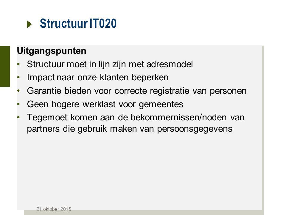 Structuur IT020 Uitgangspunten Structuur moet in lijn zijn met adresmodel Impact naar onze klanten beperken Garantie bieden voor correcte registratie