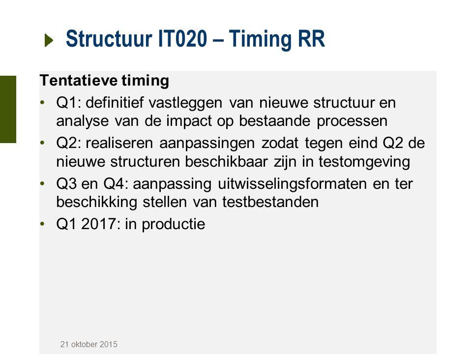 Structuur IT020 – Timing RR Tentatieve timing Q1: definitief vastleggen van nieuwe structuur en analyse van de impact op bestaande processen Q2: reali