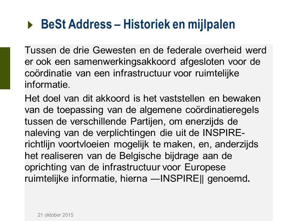 BeSt Address – Historiek en mijlpalen Tussen de drie Gewesten en de federale overheid werd er ook een samenwerkingsakkoord afgesloten voor de coördina