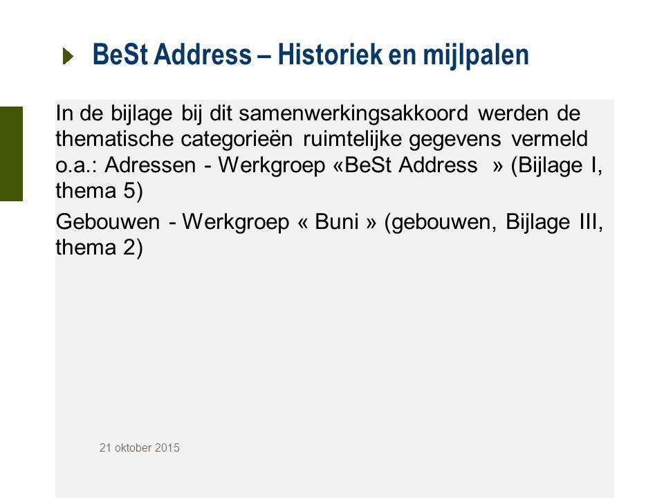 BeSt Address – Historiek en mijlpalen In de bijlage bij dit samenwerkingsakkoord werden de thematische categorieën ruimtelijke gegevens vermeld o.a.: