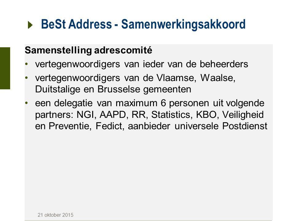 BeSt Address - Samenwerkingsakkoord Belangrijke data Gewesten verbinden er zich toe tegen 1 januari 2017 een adressenregister op te bouwen -Vlaanderen: CRAB (Centraal Referentie Adressenbestand) -Wallonië: PICC (Projet Informatique de Cartographie Continue) -Brussel: UrbIs Uiterlijk vanaf 1/1/2018 aanvaarden en gebruiken overheidsinstanties verwijzingen uit de adressenre gisters 21 oktober 2015