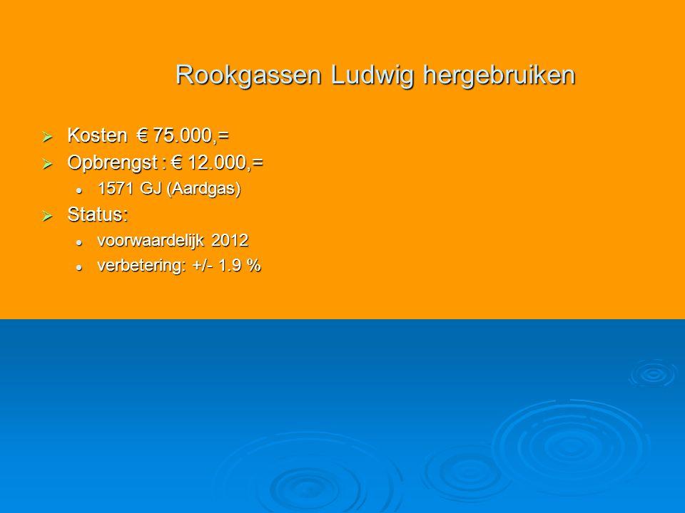  Kosten € 75.000,=  Opbrengst : € 12.000,= 1571 GJ (Aardgas) 1571 GJ (Aardgas)  Status: voorwaardelijk 2012 voorwaardelijk 2012 verbetering: +/- 1.9 % verbetering: +/- 1.9 % Rookgassen Ludwig hergebruiken