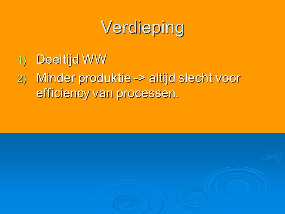 Verdieping 1) Deeltijd WW 2) Minder produktie -> altijd slecht voor efficiency van processen.