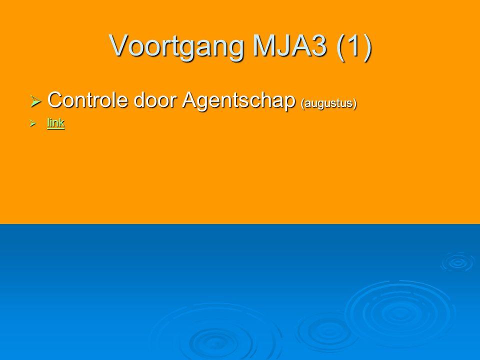 Voortgang MJA3 (1)  Controle door Agentschap (augustus)  link link