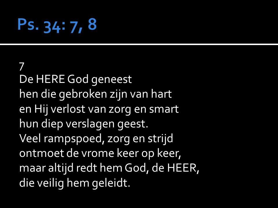 7 De HERE God geneest hen die gebroken zijn van hart en Hij verlost van zorg en smart hun diep verslagen geest.