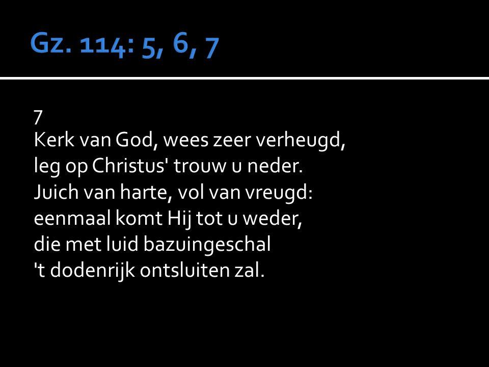 7 Kerk van God, wees zeer verheugd, leg op Christus trouw u neder.