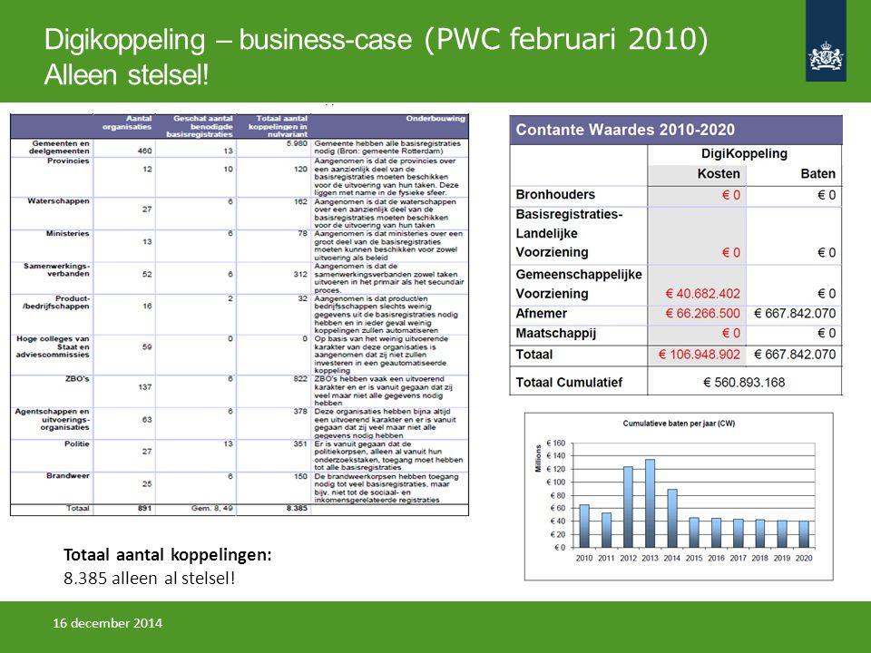 Digikoppeling – business-case (PWC februari 2010) Alleen stelsel! Totaal aantal koppelingen: 8.385 alleen al stelsel! 16 december 2014