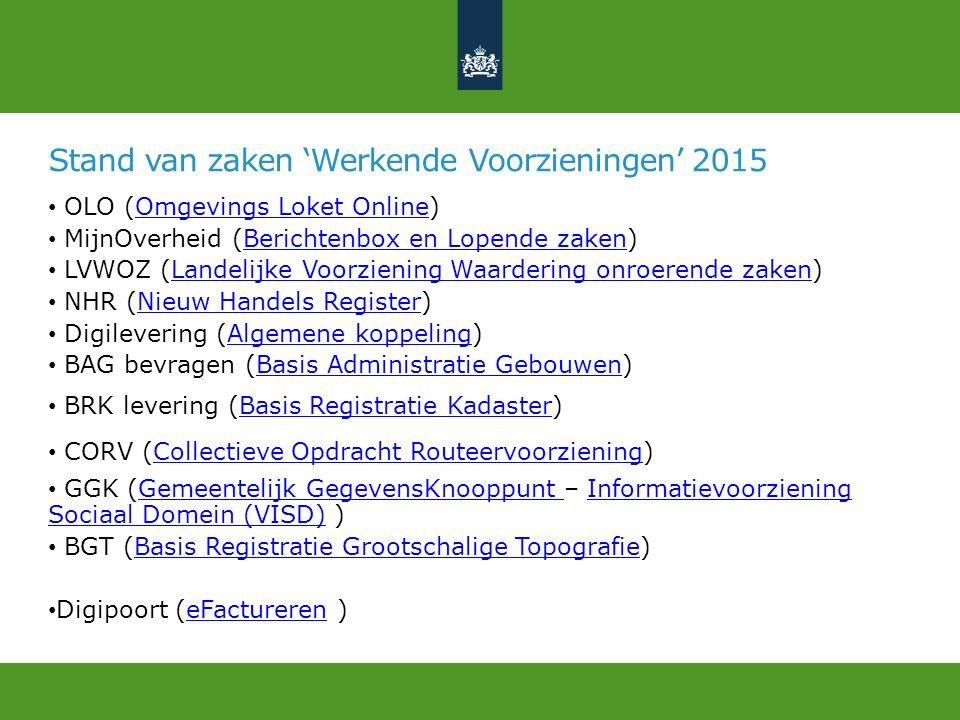 Stand van zaken 'Werkende Voorzieningen' 2015 OLO (Omgevings Loket Online)Omgevings Loket Online MijnOverheid (Berichtenbox en Lopende zaken)Berichten