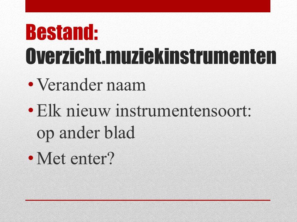 Bestand: Overzicht.muziekinstrumenten Verander naam Elk nieuw instrumentensoort: op ander blad Met enter